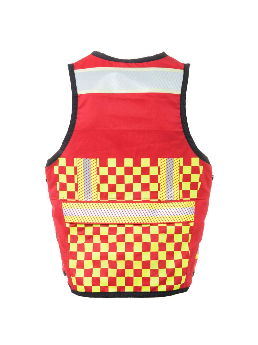 chaleco rojo y amarillo espalda