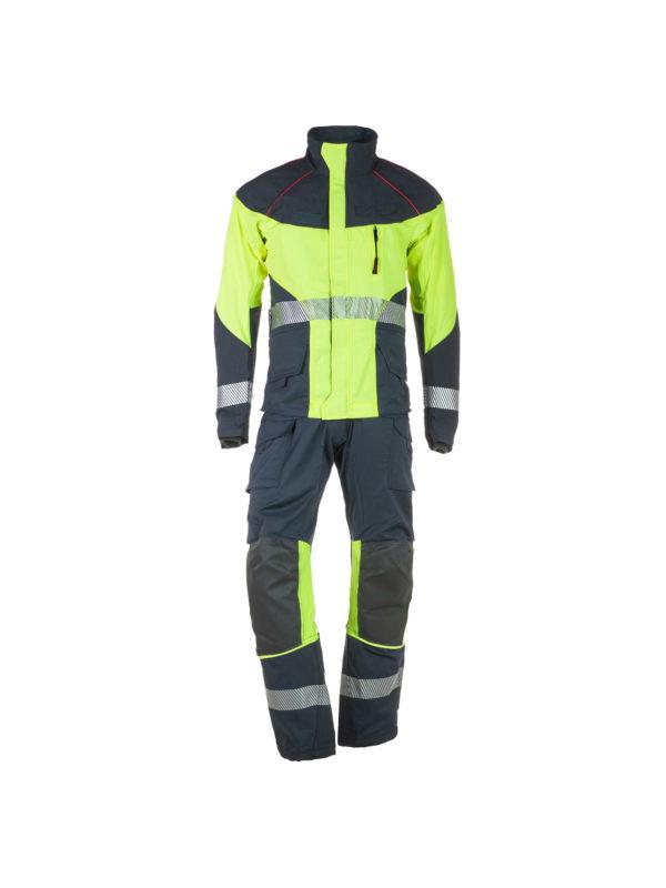 conjunto de chaqueta y pantalón de rescate técnico en color marino y amarillo
