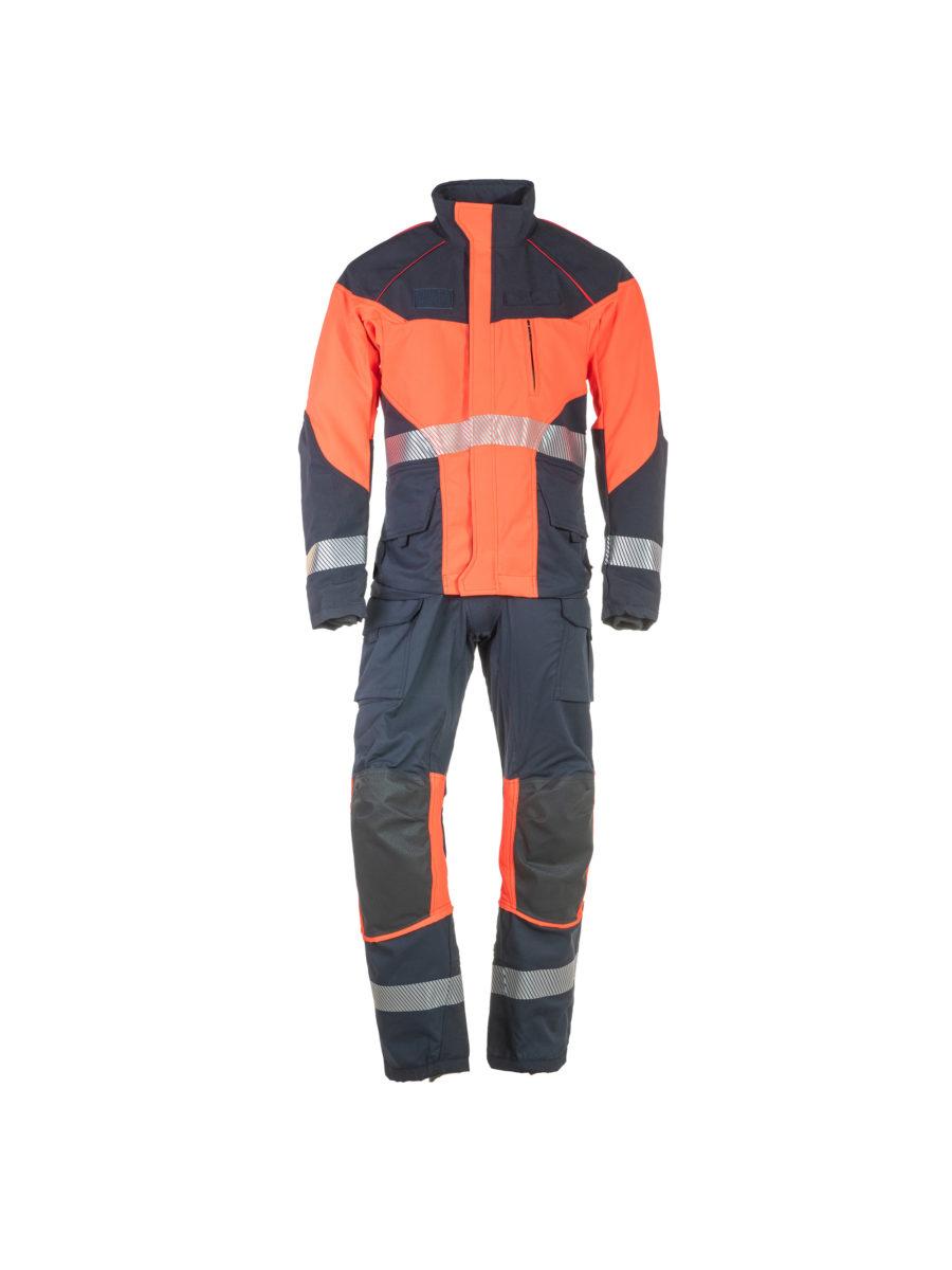 conjunto de chaqueta y pantalón de rescate técnico en marino y naranja