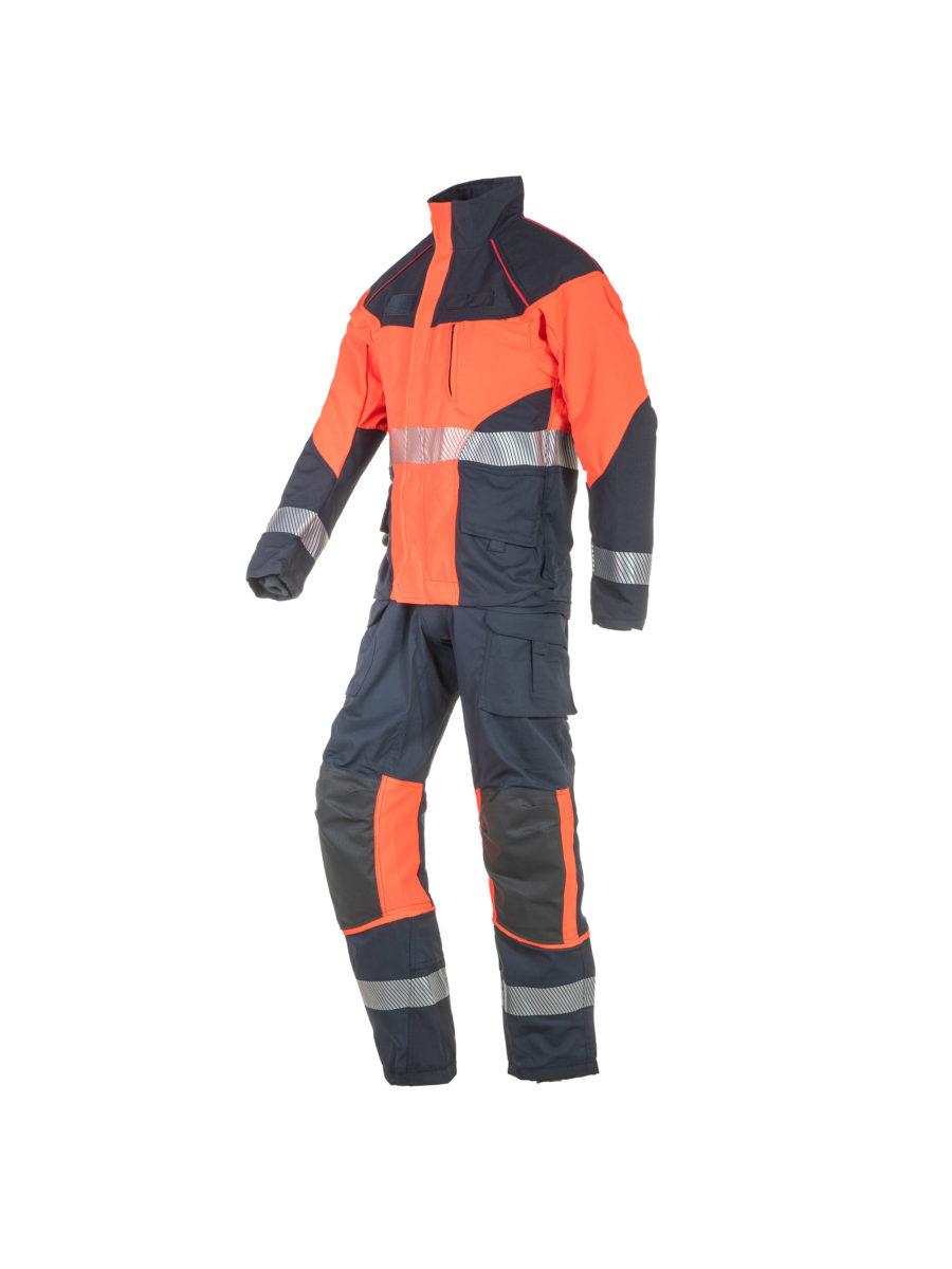 vista lateral del conjunto de chaqueta y pantalón de rescate técnico en marino y naranja